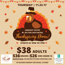 Embassy Suites by Hilton San Rafael Thanksgiving Dinner