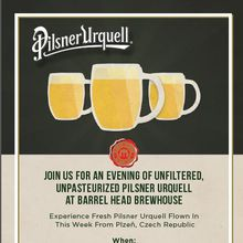 Unfiltered, Unpasteurized Pilsner Urquell at Barrel Head Brewhouse 10/19