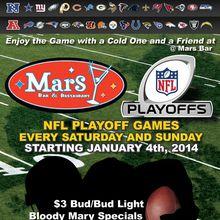 NFL divisional Championship Games at Mars Bar Sunday - Niners at 330pm!