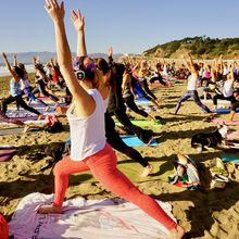 Saturday [high noon!] silent disco beach yoga with Sarah Allison