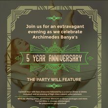 Archimedes Banya's 5 Year Anniversary Party - Dinner & Live Entertainment
