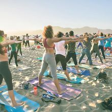 Saturday silent disco beach yoga with Sarah Allison