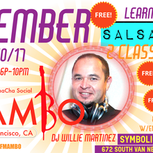 LEARN SALSA, SALSA LESSONS, SALSA/MAMBO DANCE PARTY, FREE SALSA MAMBO CLASS WITH ENTRY @ 5PM ( Every 2nd Sunday-San Francisco)-