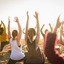 Sunday silent disco beach yoga with Nicole Cronin